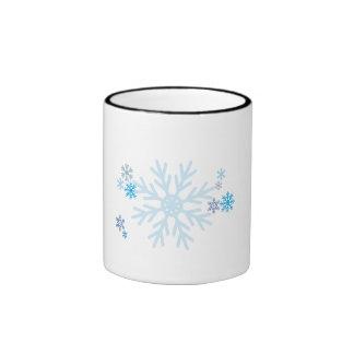 White Blue Snowflakes Christmas Bag Watch Button Mugs
