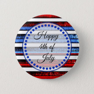 White Blue Striped Happy 4th of July Button