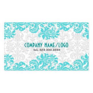 White Blue Vintage Floral Damasks Business Card