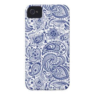 White & Blue Vintage Floral Paisley Pattern iPhone 4 Case-Mate Case