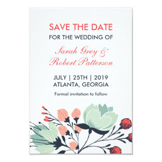 White Blue Vintage Flower Wedding Save The Date 9 Cm X 13 Cm Invitation Card