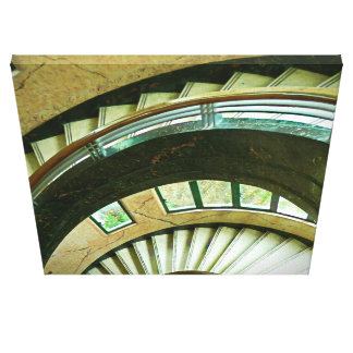 White Boat House Staircase Canvas Print