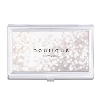 White Bokeh Glitter Modern Fashion & Beauty Business Card Cases