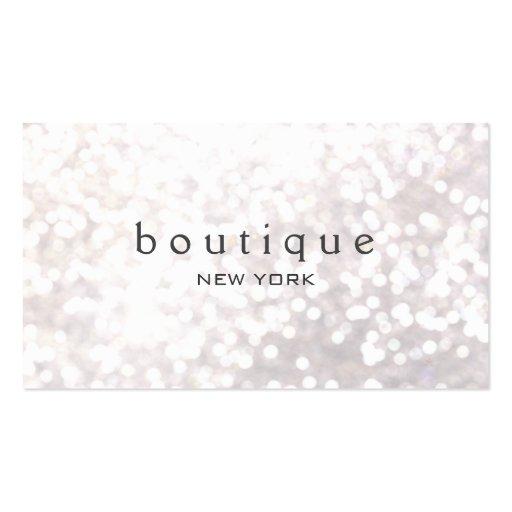 White Bokeh Glitter Modern Fashion Boutique Business Card Templates