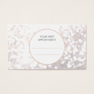 White Bokeh Gold Sequin Hair Salon Appointment Business Card