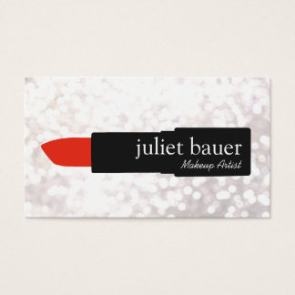 White Bokeh Makeup Artist Lipstick Logo Beauty Business Card