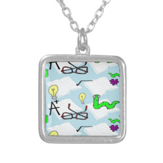 white books square pendant necklace