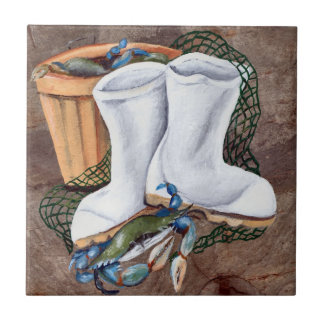 White Boots and Crabs Tile