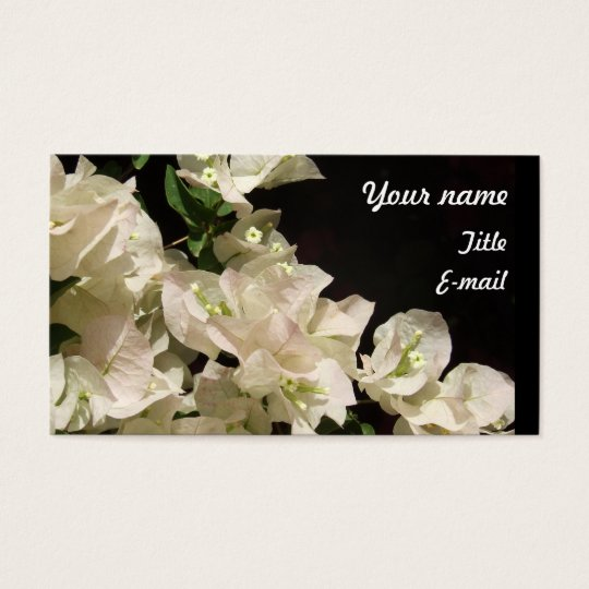 White Bougainvillea Flowers Business card