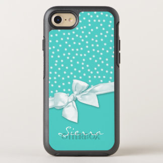 White Bow and Polka Dots on Teal OtterBox Symmetry iPhone 7 Case