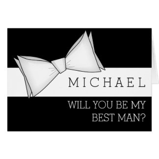 White Bowtie on Black Will You Be My Best Man Note Card