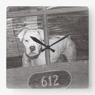 White Boxer Dog Behind Door, Black and White Wall Clocks
