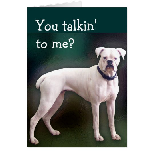 White boxer dog greeting card