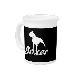 White boxer dog pitchers
