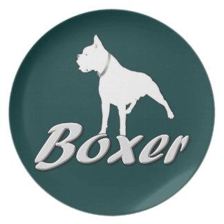 White boxer dog dinner plates
