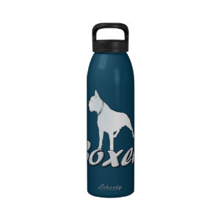 White boxer dog reusable water bottle