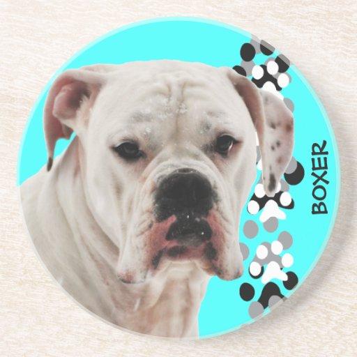 White Boxer Photo Drink Coasters