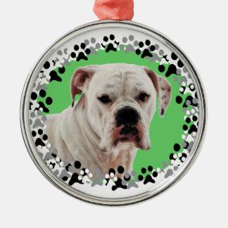 White Boxer Photo Silver-Colored Round Decoration