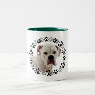 White Boxer Photo Two-Tone Coffee Mug