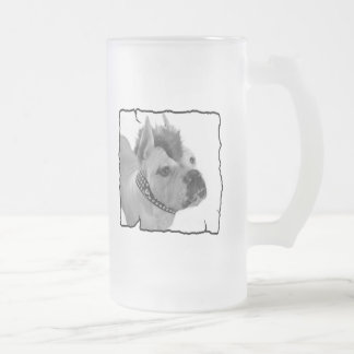 White Boxer punk tall frosted mug