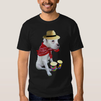 White boxer pup with Bongos mens t-shirt