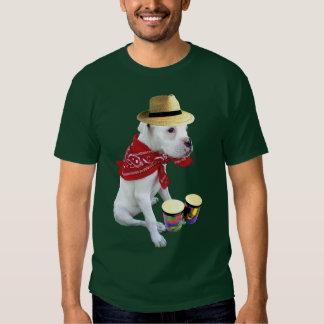 White boxer pup with Bongos mens t-shirt