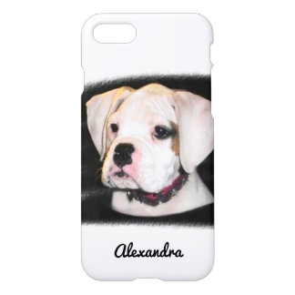 White Boxer puppy dog iphone 7 case