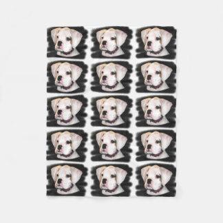 White Boxer puppy Fleece Blanket