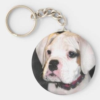 White boxer puppy keychain