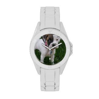 White Boxer Puppy Wristwatch
