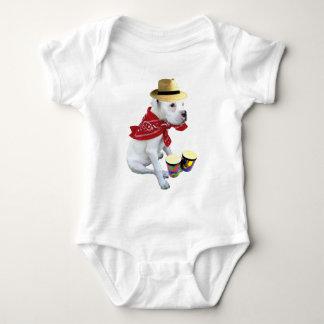White boxer with bongos infant shirt