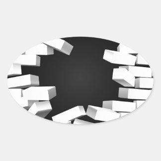 White Breaking Wall Oval Sticker
