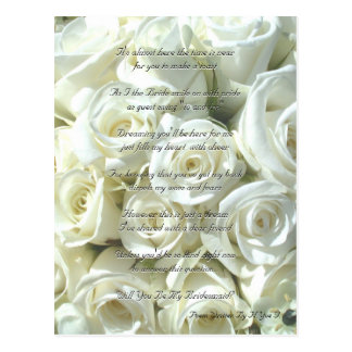 White Bridal Bouquet Will You Be My Bridesmaid I Postcard