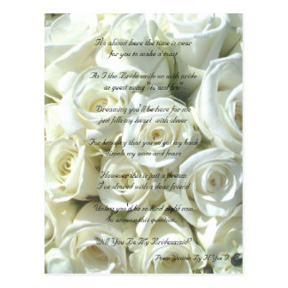 White Bridal Bouquet Will You Be My Bridesmaid Postcard