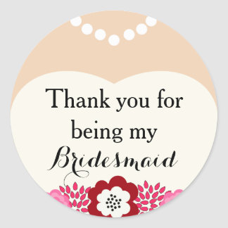 White Bridesmaid Wedding Thank You Stickers Stickers