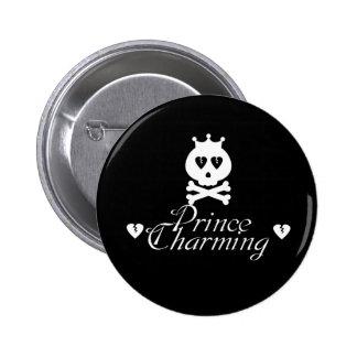 White Broken Heart Prince Charming Button