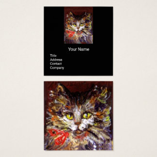 WHITE BROWN KITTY CAT PORTRAIT,RED RIBBON Black Square Business Card