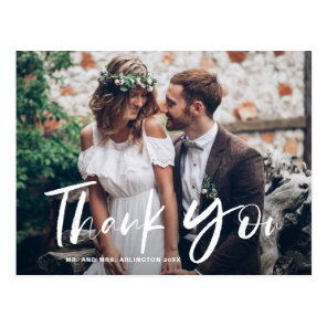 White Brush Hand Lettered Photo Wedding Thank You Postcard
