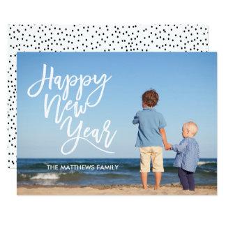 White Brush Script Happy New Year Photo Card