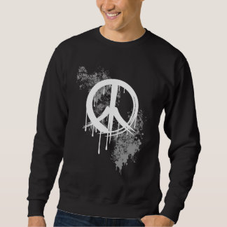 White Brushed Peace Symbol Grey Paint splatter Sweatshirt