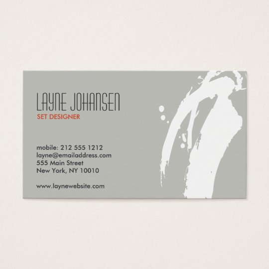 WHITE BRUSHSTROKE BUSINESS CARD