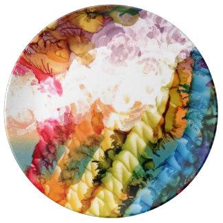 White Bubble Rainbow Art Plate