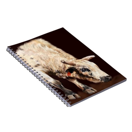 White Bucking Rodeo Bull Notebook