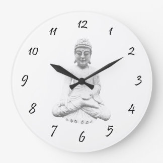 White Buddha Round Wall Clock