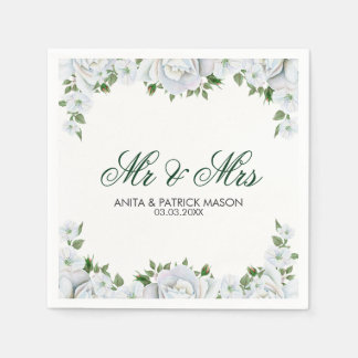 White Buds And Roses- Save The Date Disposable Napkin