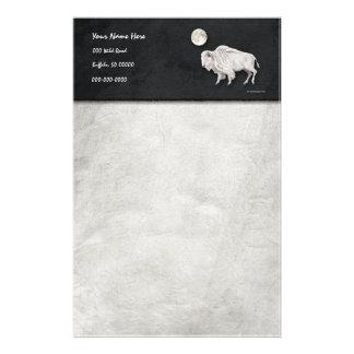 White Buffalo Full Moon Gray Stationery
