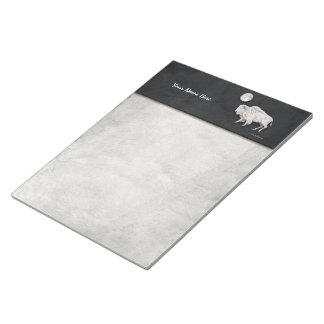 White Buffalo Full Moon Light Gray Notepad