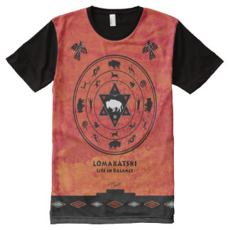 White Buffalo Medicine Wheel All-Over Print T-Shirt
