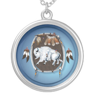 White Buffalo Shield Necklace