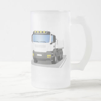 white building sites truck frosted glass beer mug